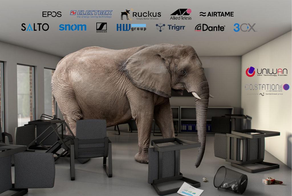 """""""There is an Elephant in the Office"""" Dans le monde de l'entreprise, vous pouvez vous retrouver face à un éléphant au milieu du bureau. La présence d'un éléphant au bureau est une métaphore de la vie avec un énorme problème. Et c'est vrai que vous ayez vu l'éléphant ou non. Votre salle de réunion est vraisemblablement mal équipée en wifi, réseau, image, lumière, chauffage et son."""